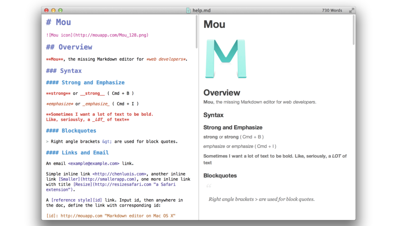 【mac用】マークダウンで書けるプログラミングエディタ「mou」